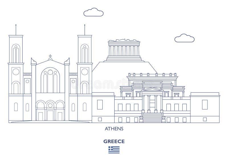 Horizon de ville d'Athènes, Grèce illustration stock