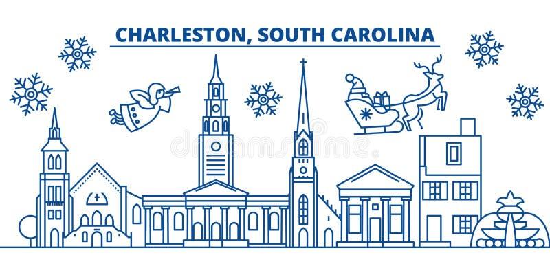 Horizon de ville d'hiver des Etats-Unis, la Caroline du Sud, Charleston Le Joyeux Noël et la bonne année ont décoré la bannière s illustration de vecteur