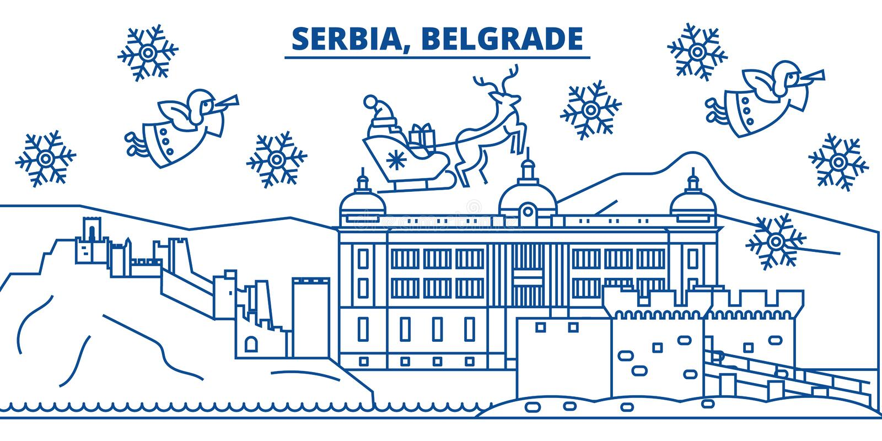 Horizon de ville d'hiver de la Serbie, Belgrade Joyeux Noël, illustration stock