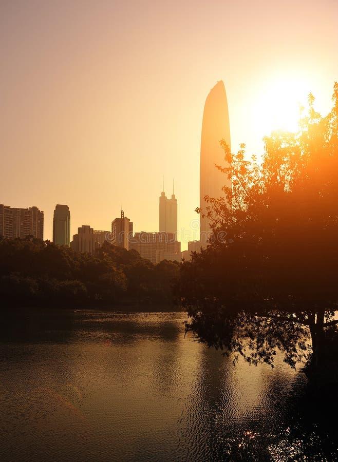Horizon de ville dans la ville de Shenzhen photographie stock