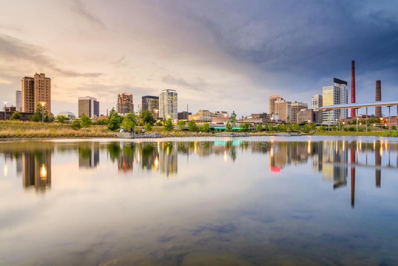 Horizon de ville de Birmingham, Alabama image libre de droits