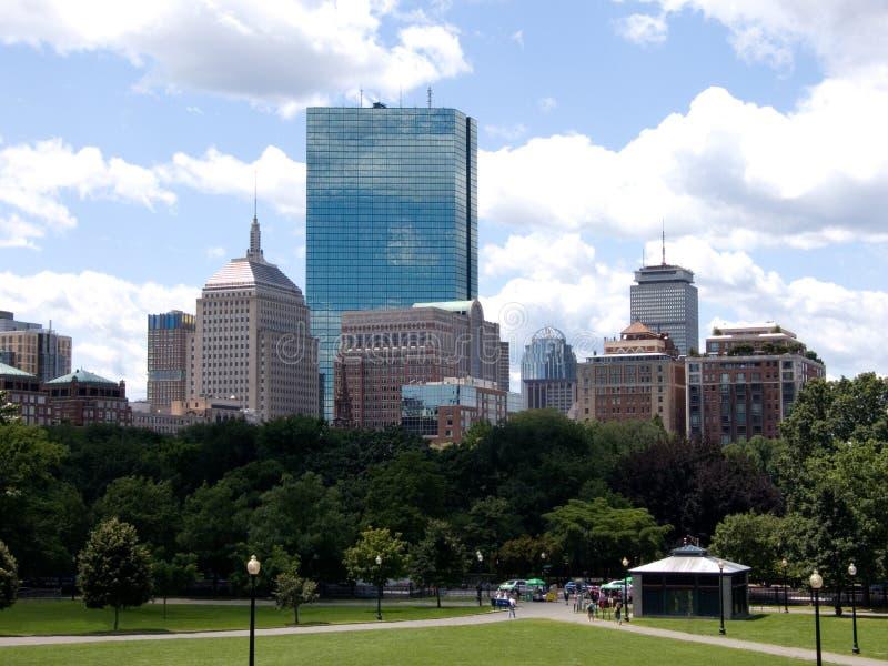 Horizon de ville de Boston du terrain communal photo libre de droits
