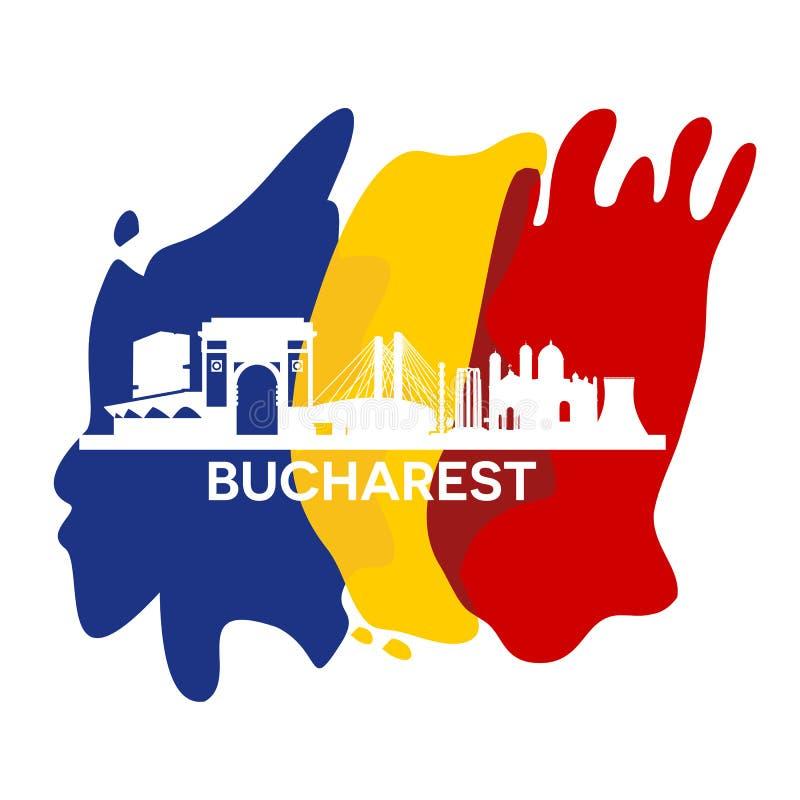 Horizon de ville de Bucarest illustration de vecteur