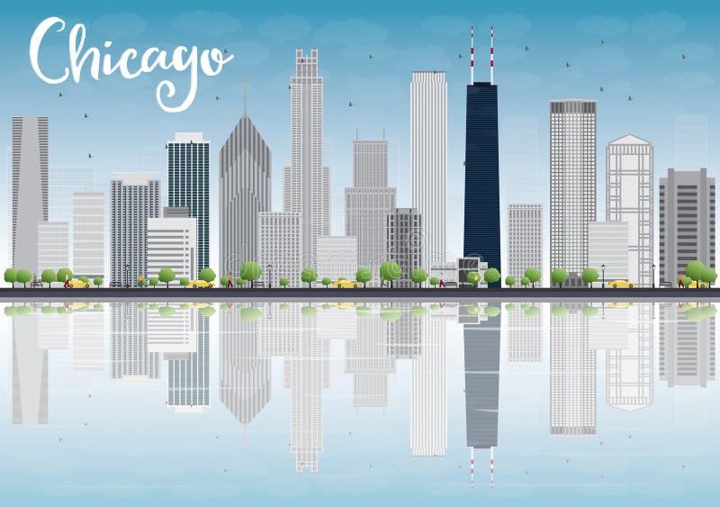 Download Horizon De Ville De Chicago Avec Les Gratte-ciel Gris Et Les Réflexions Illustration de Vecteur - Illustration du avant, michigan: 56487959