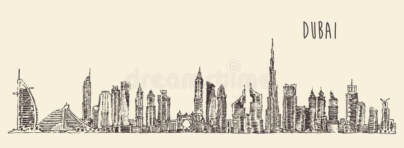 Horizon de ville de Dubaï tiré par la main, vecteur gravé illustration stock