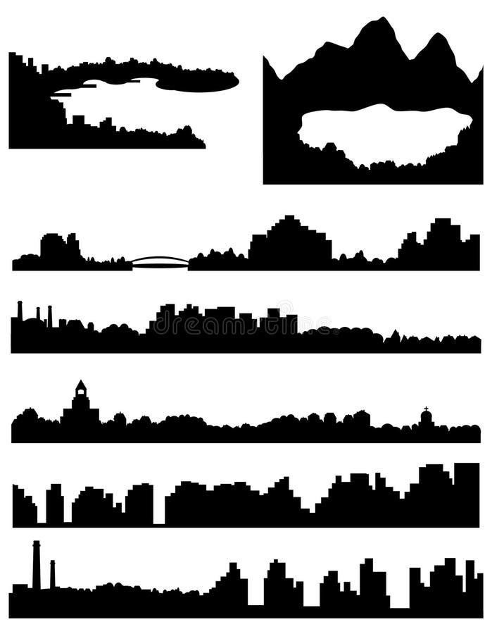 Horizon de ville, de mer et de lac illustration stock