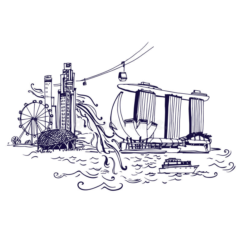 Horizon de ville de Singapour au vecteur de Marina Bay illustration stock