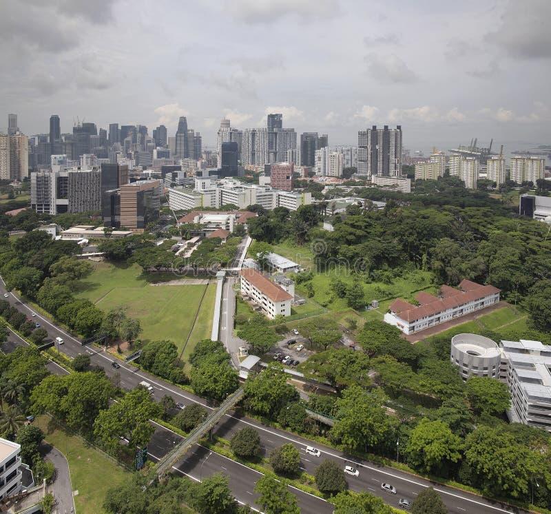 Horizon de ville de Singapour CBD et aménagement prévu image stock