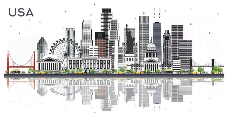 Horizon de ville des Etats-Unis avec Gray Buildings et réflexions d'isolement sur le blanc illustration de vecteur