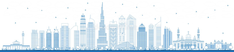 Horizon de ville de Dubaï EAU d'ensemble avec les bâtiments bleus illustration stock