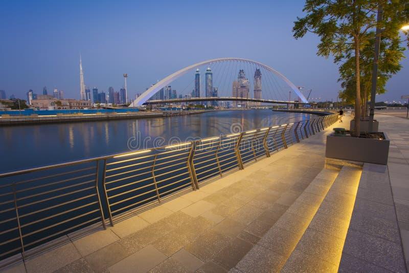 Horizon de ville de Dubaï la nuit photos libres de droits