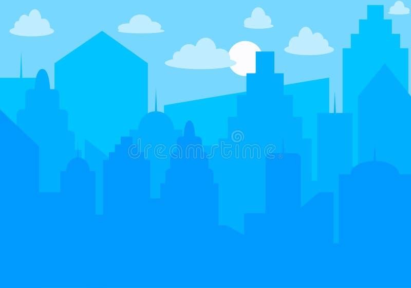 Horizon de ville Horizontal urbain Silhouette bleue de ville Paysage urbain dans le style plat Horizontal moderne de ville Fond d illustration de vecteur