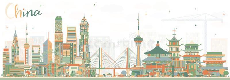 Horizon de ville de la Chine Points de repère célèbres en Chine Illustrati de vecteur illustration de vecteur