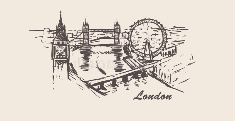 Horizon de ville de Londres, illustration tirée par la main de vecteur de croquis sur le fond blanc illustration de vecteur
