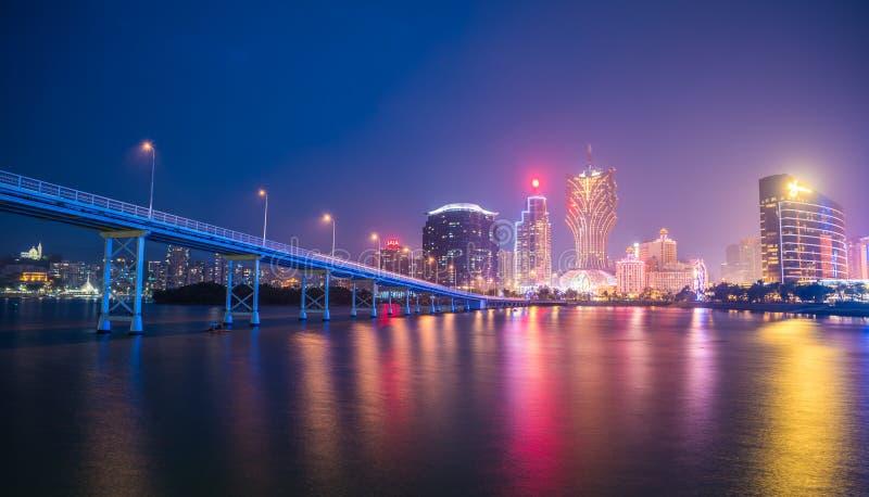 Horizon de ville de Macao la nuit image libre de droits