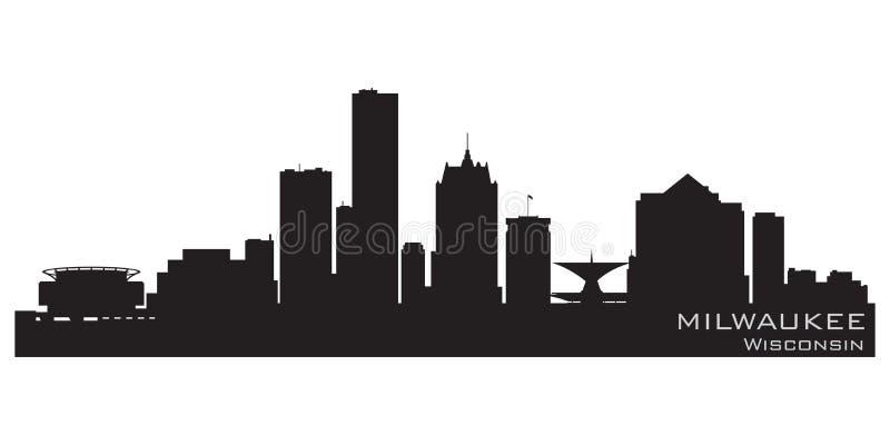 Horizon de ville de Milwaukee le Wisconsin Silhouette détaillée de vecteur illustration libre de droits