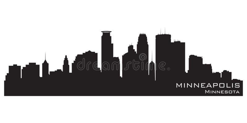 Horizon de ville de Minneapolis, Minnesota Silhouette détaillée de vecteur illustration stock