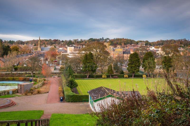 Horizon de ville de Morpeth de Carlisle Park photo stock