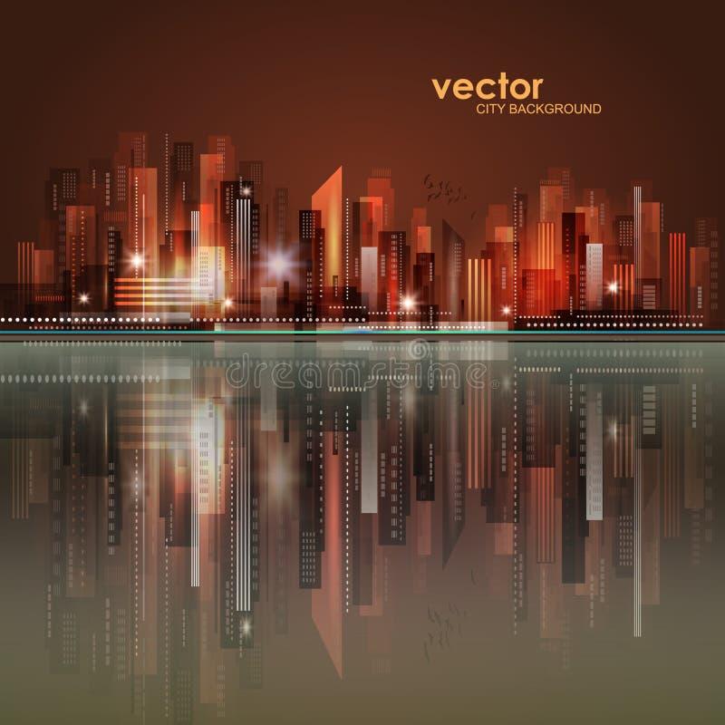 Horizon de ville de nuit avec la réflexion dans l'eau Illustration de vecteur illustration de vecteur