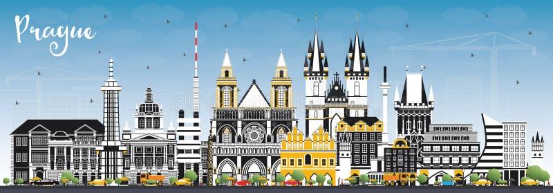 Horizon de ville de République Tchèque de Prague avec les bâtiments de couleur et le ciel bleu illustration de vecteur