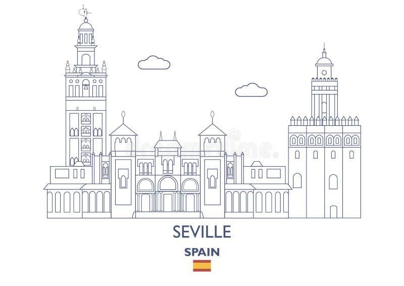 Horizon de ville de Séville, Espagne illustration de vecteur