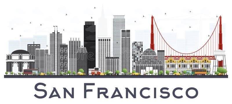 Horizon de ville de San Francisco Etats-Unis avec Gray Buildings Isolated sur W illustration libre de droits
