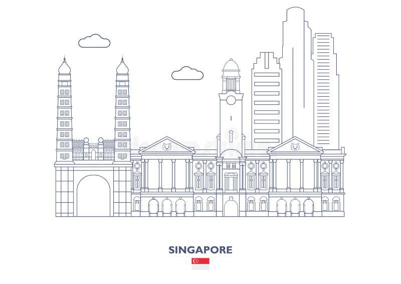 Horizon de ville de Singapour illustration stock