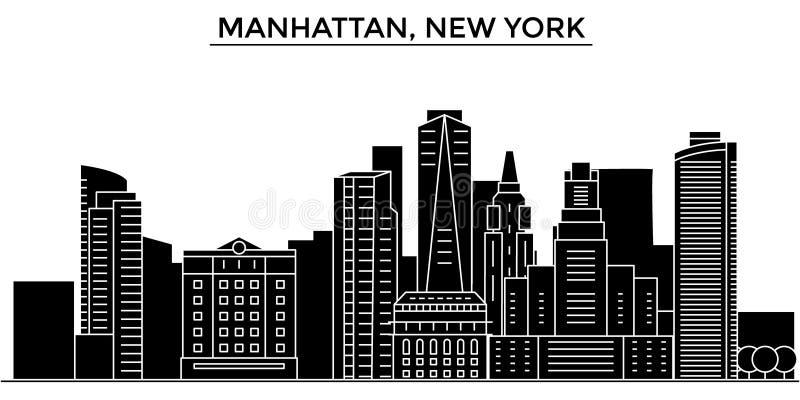 Horizon de ville de vecteur d'architecture des Etats-Unis, Manhattan, New York, paysage urbain de voyage avec des points de repèr illustration libre de droits