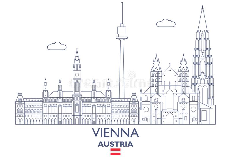 Horizon de ville de Vienne, Autriche illustration de vecteur