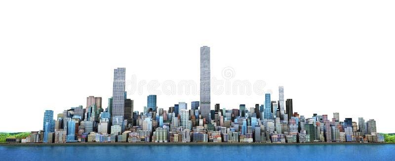 Horizon de ville Vue de mer aux gratte-ciel modernes 3d IL illustration libre de droits