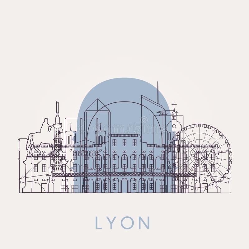 Horizon de vintage de Lyon d'ensemble avec des points de repère illustration stock