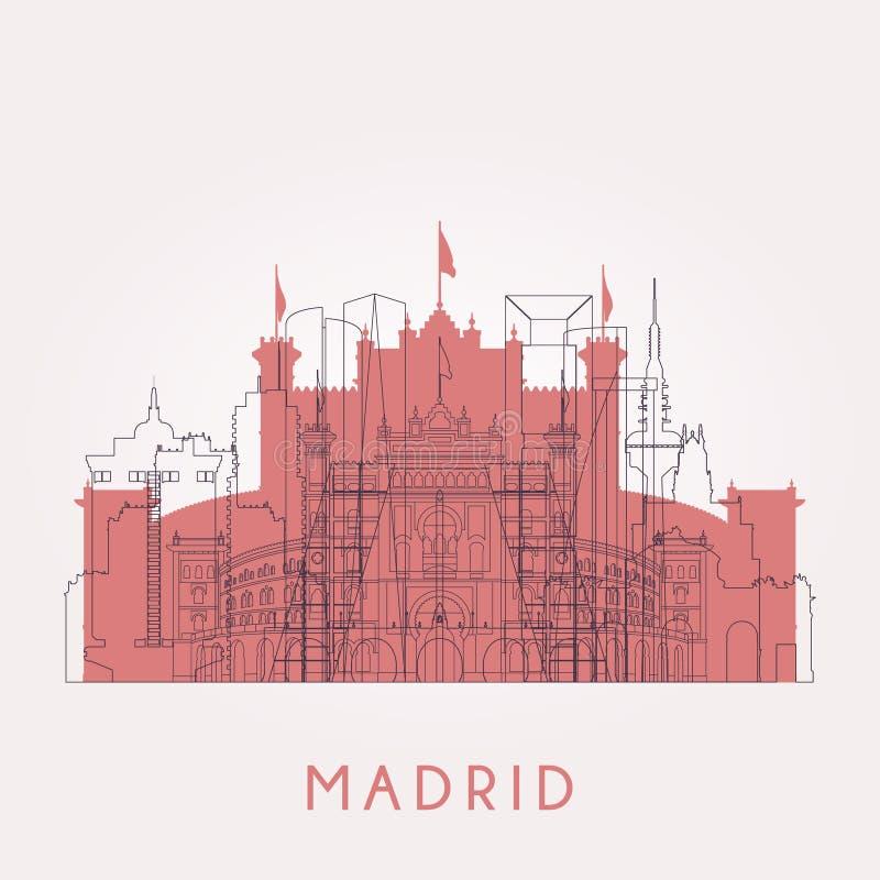 Horizon de vintage de Madrid d'ensemble avec des points de repère illustration stock