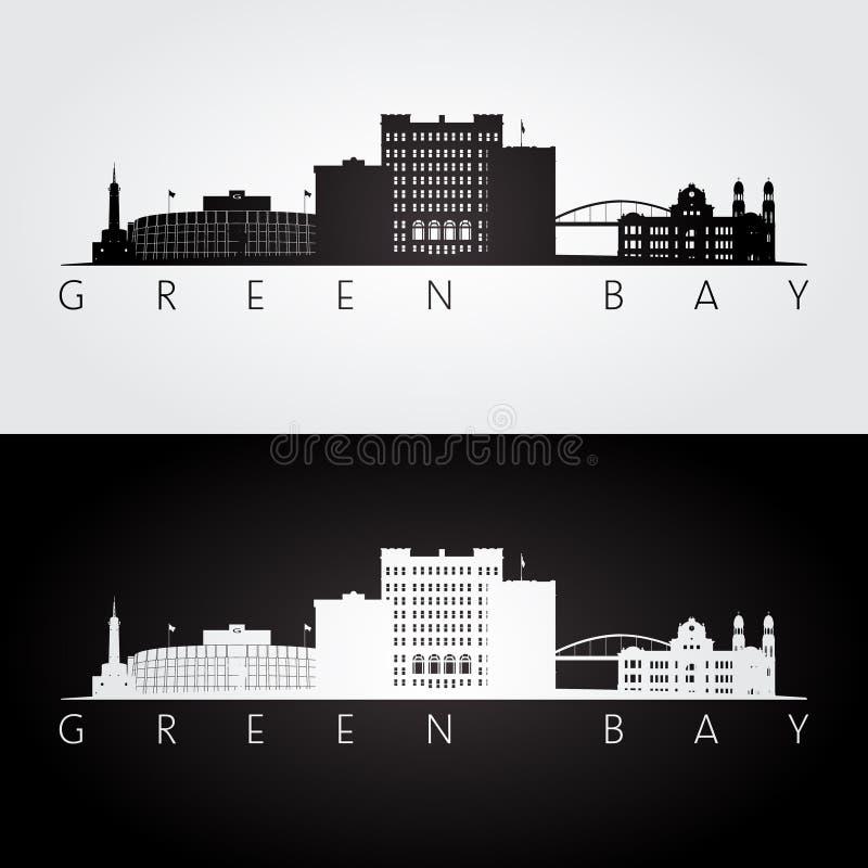 Horizon des Etats-Unis de Green Bay et silhouette de points de repère illustration libre de droits