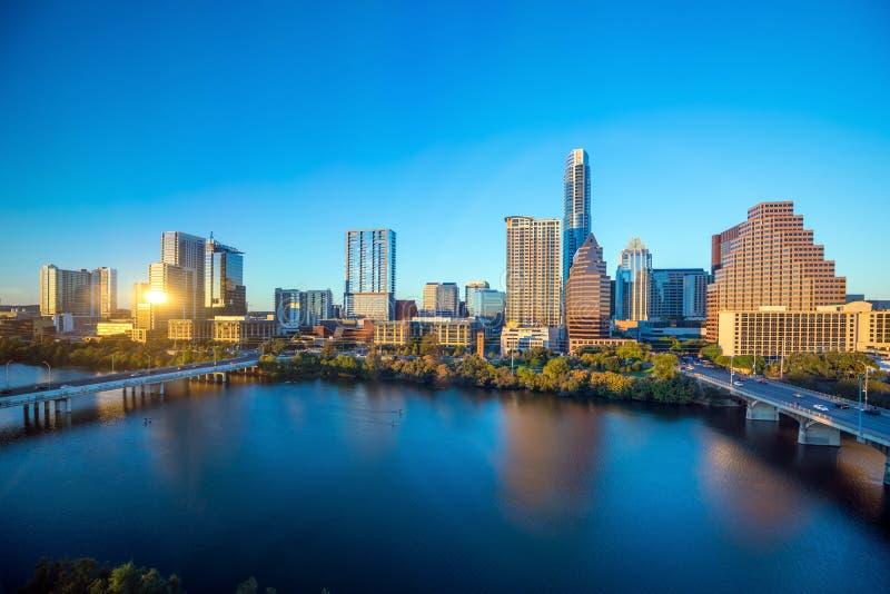 Horizon du centre d'Austin, le Texas images libres de droits