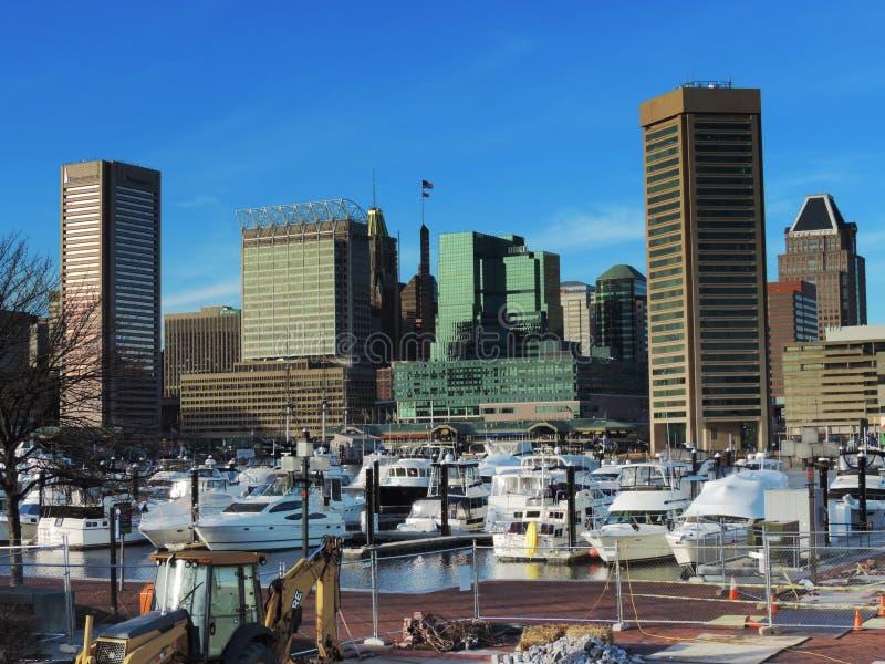 Horizon du centre de Baltimore de colline fédérale photographie stock libre de droits