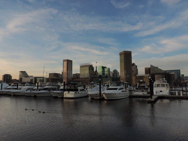 Horizon du centre de Baltimore du port intérieur image libre de droits