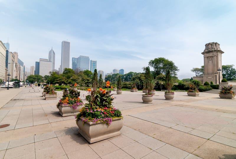 Horizon du centre de Chicago avec des gratte-ciel, l'Illinois, Etats-Unis photographie stock