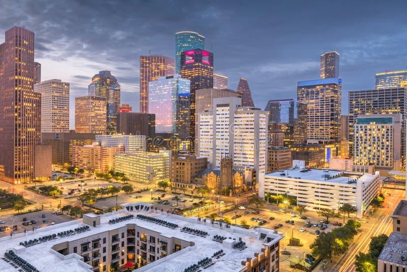 Horizon du centre de Houston, le Texas, Etats-Unis au crépuscule photographie stock