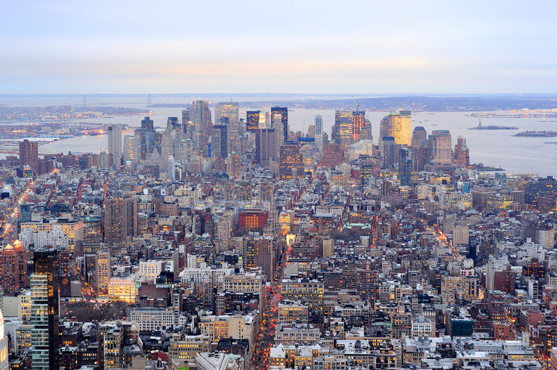 Horizon du centre de New York City Manhattan photographie stock libre de droits