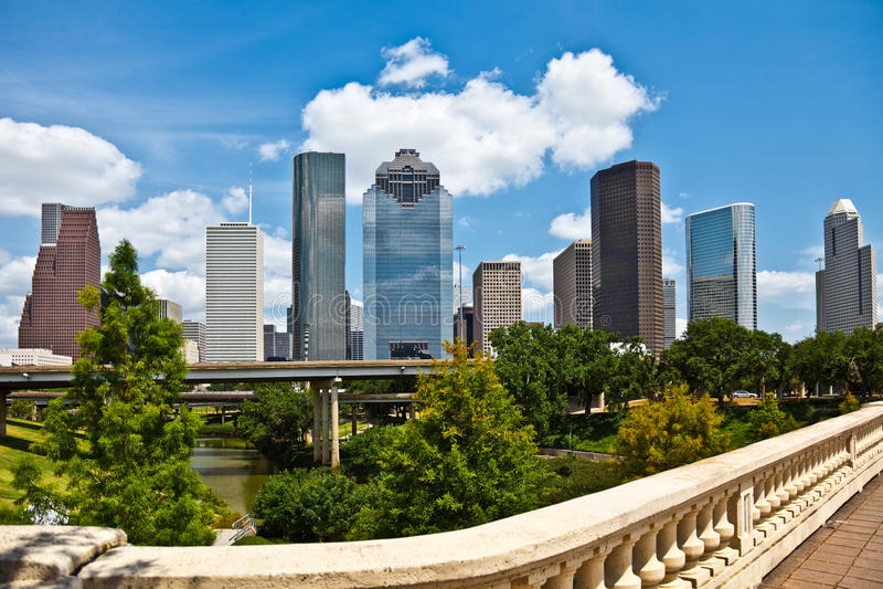 Horizon du centre de paysage urbain de Houston le Texas photos libres de droits