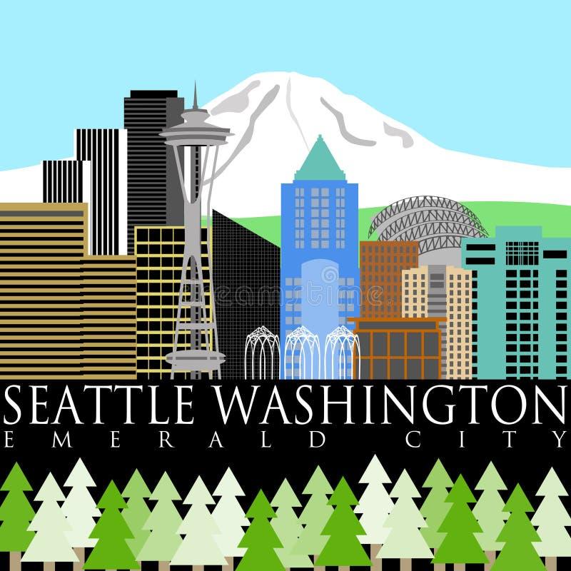 Horizon du centre de Seattle avec une couleur plus pluvieuse de support illustration de vecteur