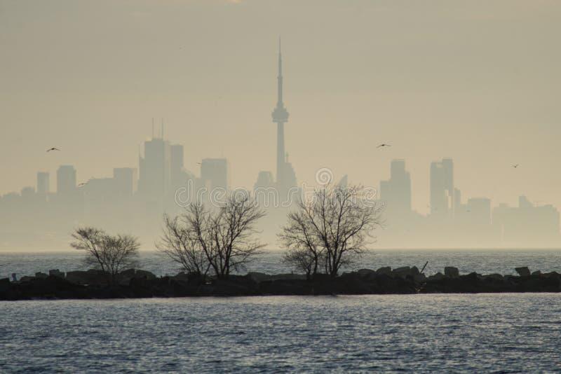 Horizon du centre de Toronto par la brume de début de la matinée images libres de droits