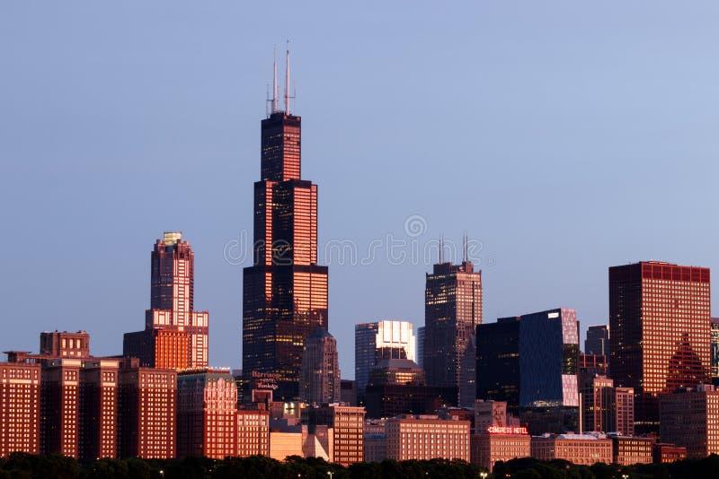Horizon du centre de Windy City du lac Michigan Chicago est ? la maison au CUB, aux ours, au Blackhawks et ? la pizza profonde II photo stock