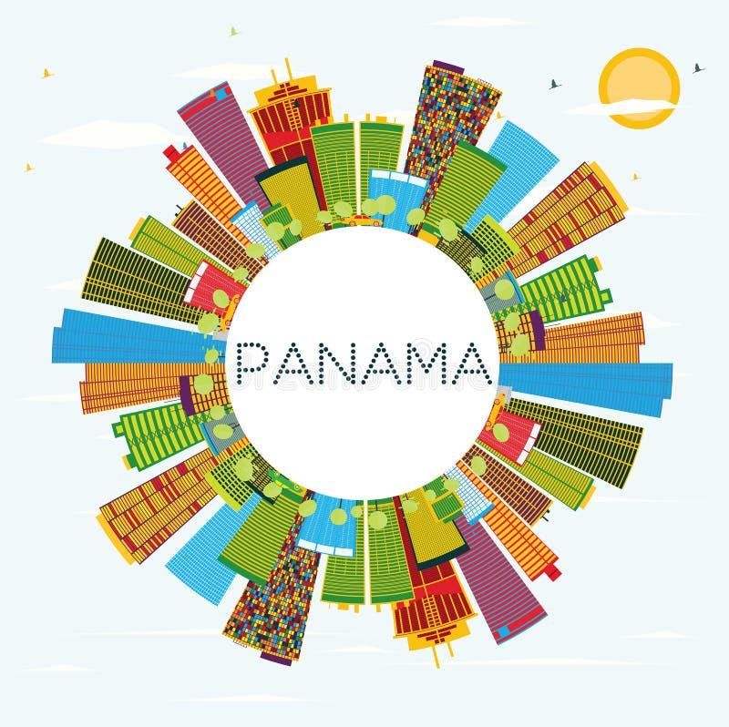 Horizon du Panama avec les bâtiments de couleur, le ciel bleu et l'espace de copie illustration stock
