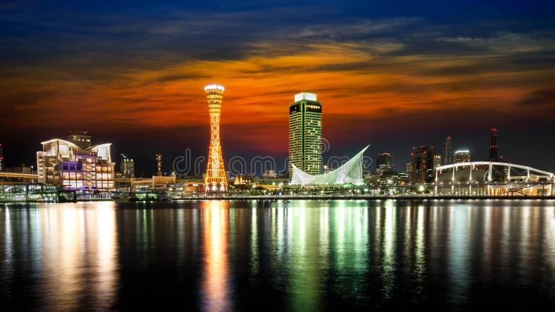 Horizon en Haven van Kobe Tower stock foto