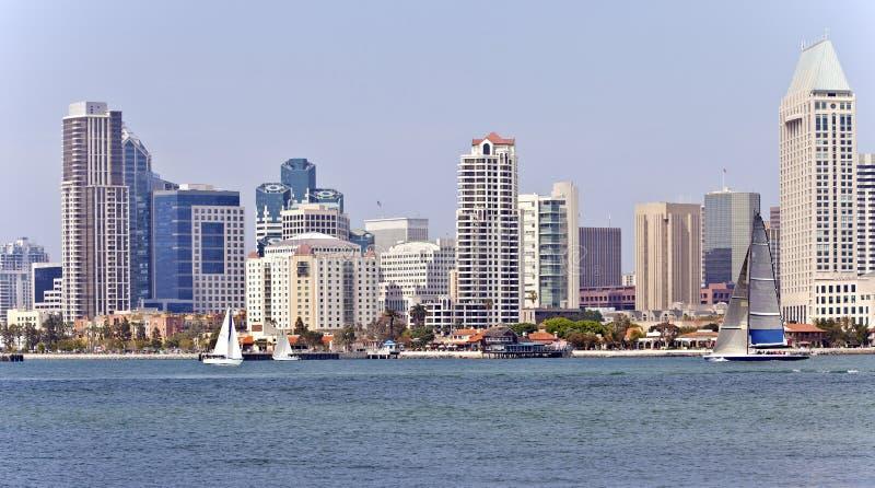 Horizon et voiliers de San Diego. images libres de droits