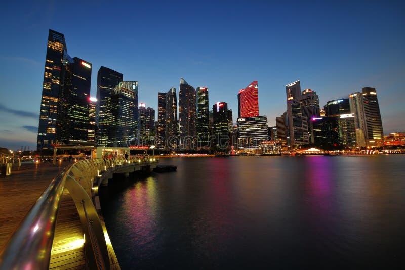 Horizon financier de secteur de Singapour images libres de droits
