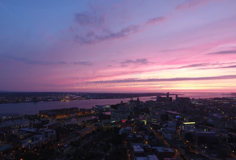 Horizon iconique étonnant de Liverpools photographie stock libre de droits