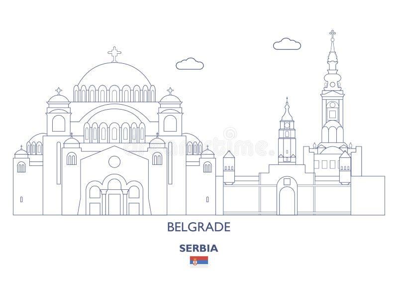 Horizon linéaire de ville de Belgrade, Serbie illustration de vecteur