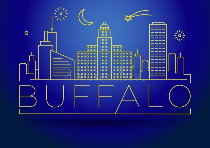 Horizon linéaire de ville de Buffalo minimal avec la conception typographique illustration libre de droits